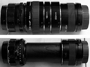 Bộ ống kính chụp macro tự chế của anh Lâm. Ảnh: 3xu.